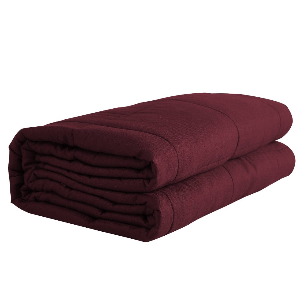 "Image of ""48"""" x 72"""" 20lbs Solid Cotton Weighted Bed Blanket Red - Pur Serenity"""