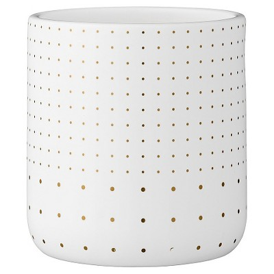Ceramic Flower Pot - White/Gold (4.25 )- 3R Studios