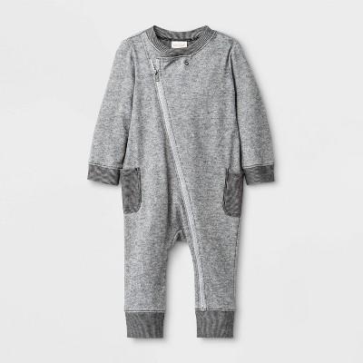 Baby Boys' Fabric Interest Romper - Cat & Jack™ Gray Newborn
