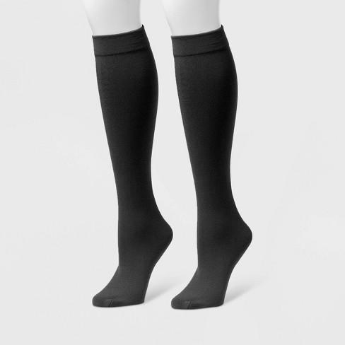 MUK LUKS Women's Fleece Lined 2pk Knee High Socks - Black - image 1 of 1
