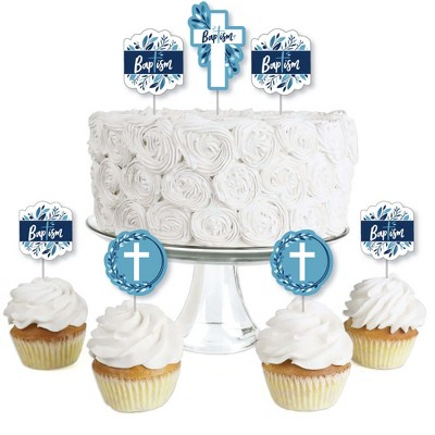 Big Dot of Happiness Baptism Blue Elegant Cross - Dessert Cupcake Toppers - Boy Religious Party Clear Treat Picks - Set of 24