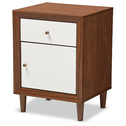 low priced aa06f a2dfd Harlow Mid-Century Modern Scandinavian Style Wood 1-Drawer And 1-Door  Nightstand - White And Walnut - Baxton Studio