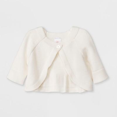 Baby Girls' Long Sleeve Cropped Cardigan Sweater - Cat & Jack™ Cream Newborn