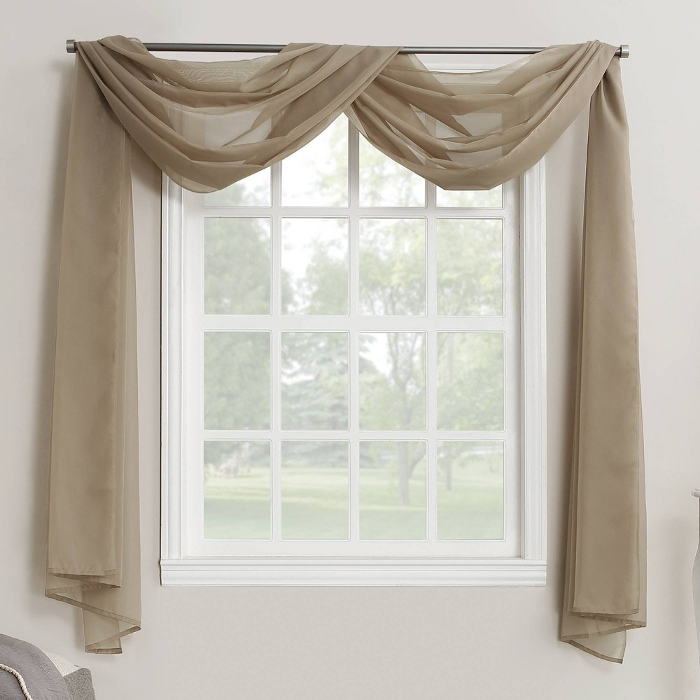 """216""""x59"""" Emily Sheer Voile Window Curtain Scarf Taupe - No. 918"""
