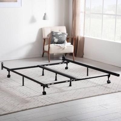 Universal Adjustable Metal Bed Frame with Center Support & Rug Rollers - Brookside