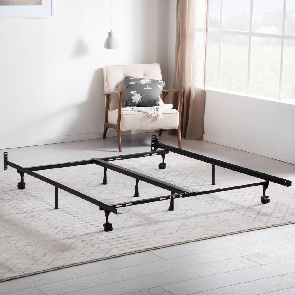 Image of Universal Adjustable Metal Bed Frame with Center Support & Rug Rollers - Brookside, Black
