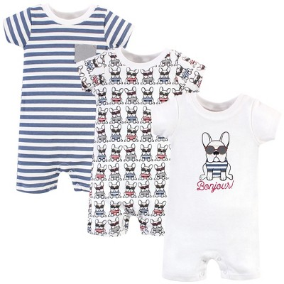 Hudson Baby Infant Boy Cotton Rompers 3pk, French Dog