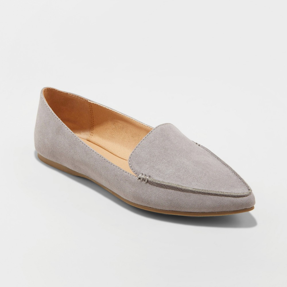 Women's Micah Wide Width Pointed Toe Closed Loafers - A New Day Gray 6.5 W, Size: 6.5 Wide