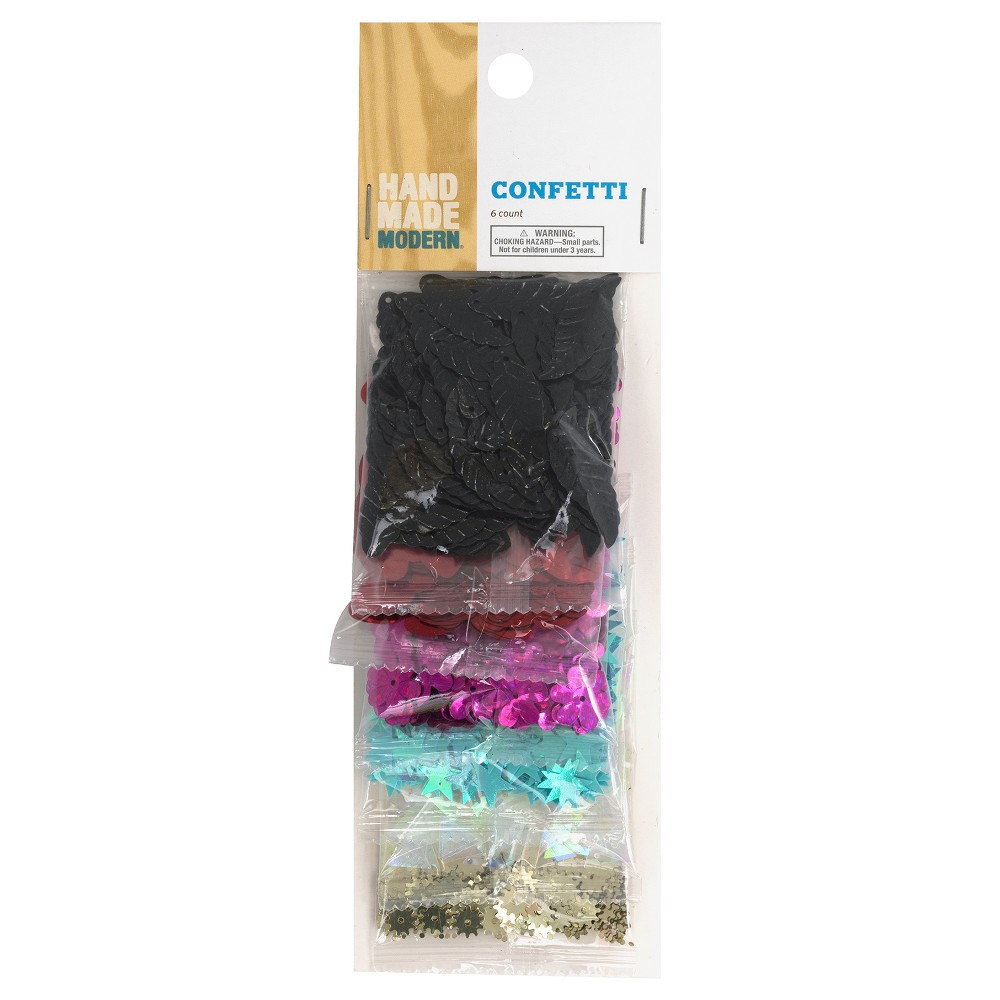 Image of 6pk Confetti Sequin Shapes - Multi-color Hand Made Modern