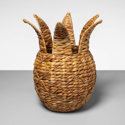 "17"" x 15"" Pineapple Shaped Water Hyacinth Woven Basket Natural - Opalhouse™"