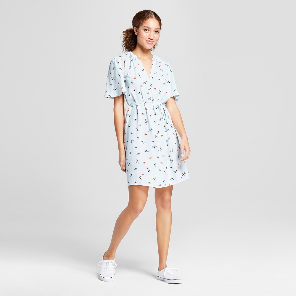 Women's Printed Short Sleeve Tie Waist Crepe Dress - A New Day Light Blue XL