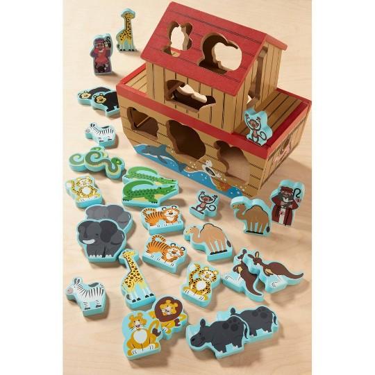 Melissa & Doug Noah's Ark Wooden Shape Sorter Educational Toy (28pc) image number null