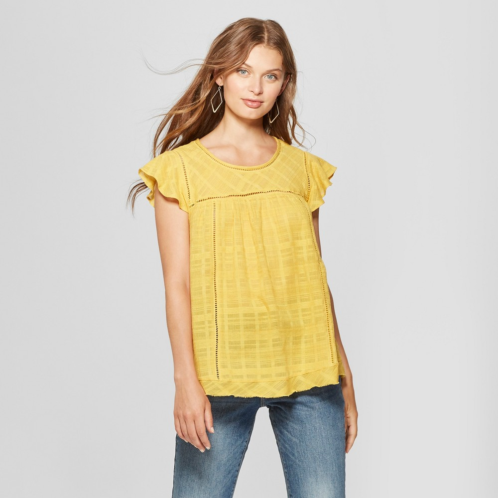 Image of Women's Short Ruffle Sleeve Babydoll Blouse - John Paul Richard - Gold L, Size: Large, Yellow