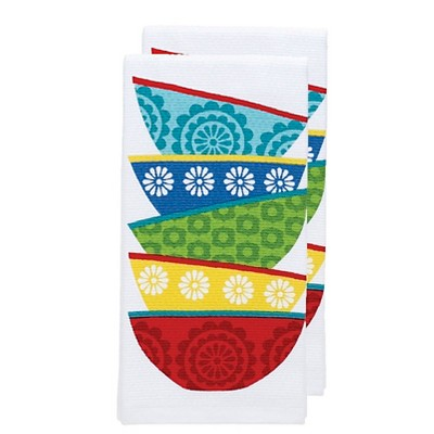 Bright Blue Dish Stack Print Kitchen Towel (16 x26 )T-Fal