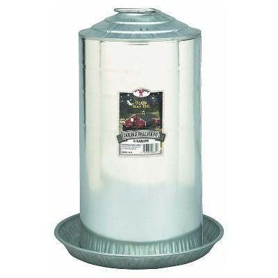 Little Giant 9838 Heavy Duty Galvanized Steel 8 Gallon Double Wall Poultry Fount Waterer, Silver