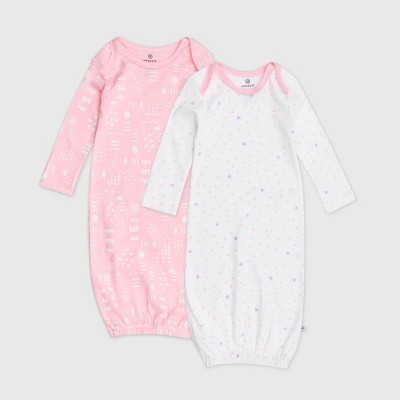 Honest Baby Girls' 2pk Organic Cotton Love Dot Nightgown - 0-6M