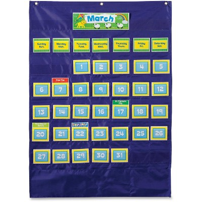 Carson-Dellosa Publishing Monthly Calendar 43-Pocket Chart with Day/Week Cards Blue 25 x 28 1/2