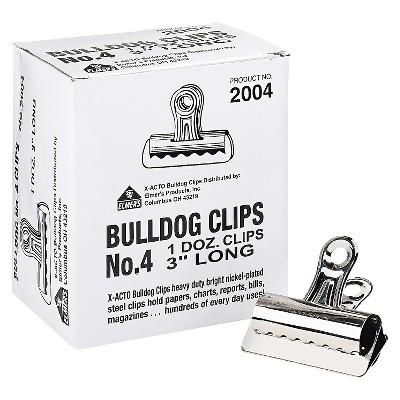 "X-ACTO Bulldog Clips, Steel, 1"" Capacity, 3""w, Nickel-Plated, 12 per Box"