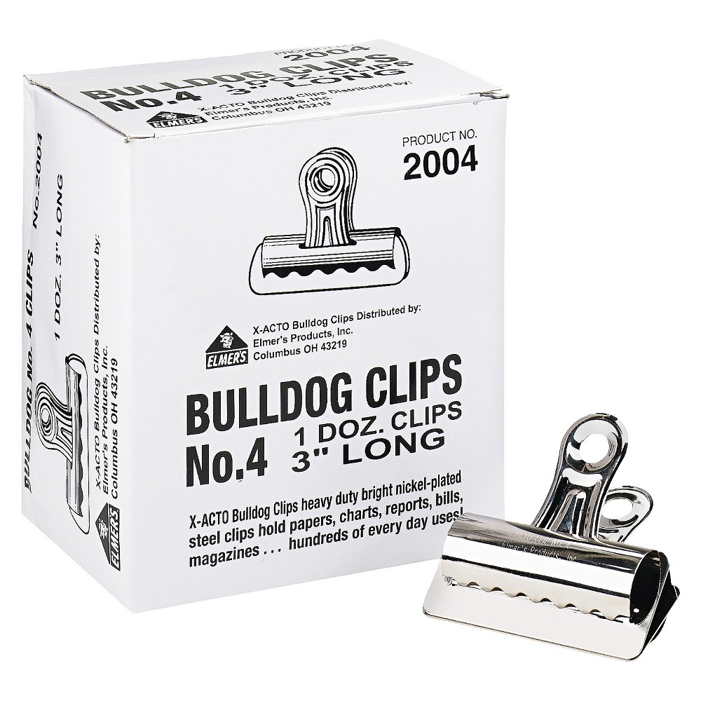 "Image of ""X-ACTO Bulldog Clips, Steel, 1"""" Capacity, 3""""w, Nickel-Plated, 12 per Box"""