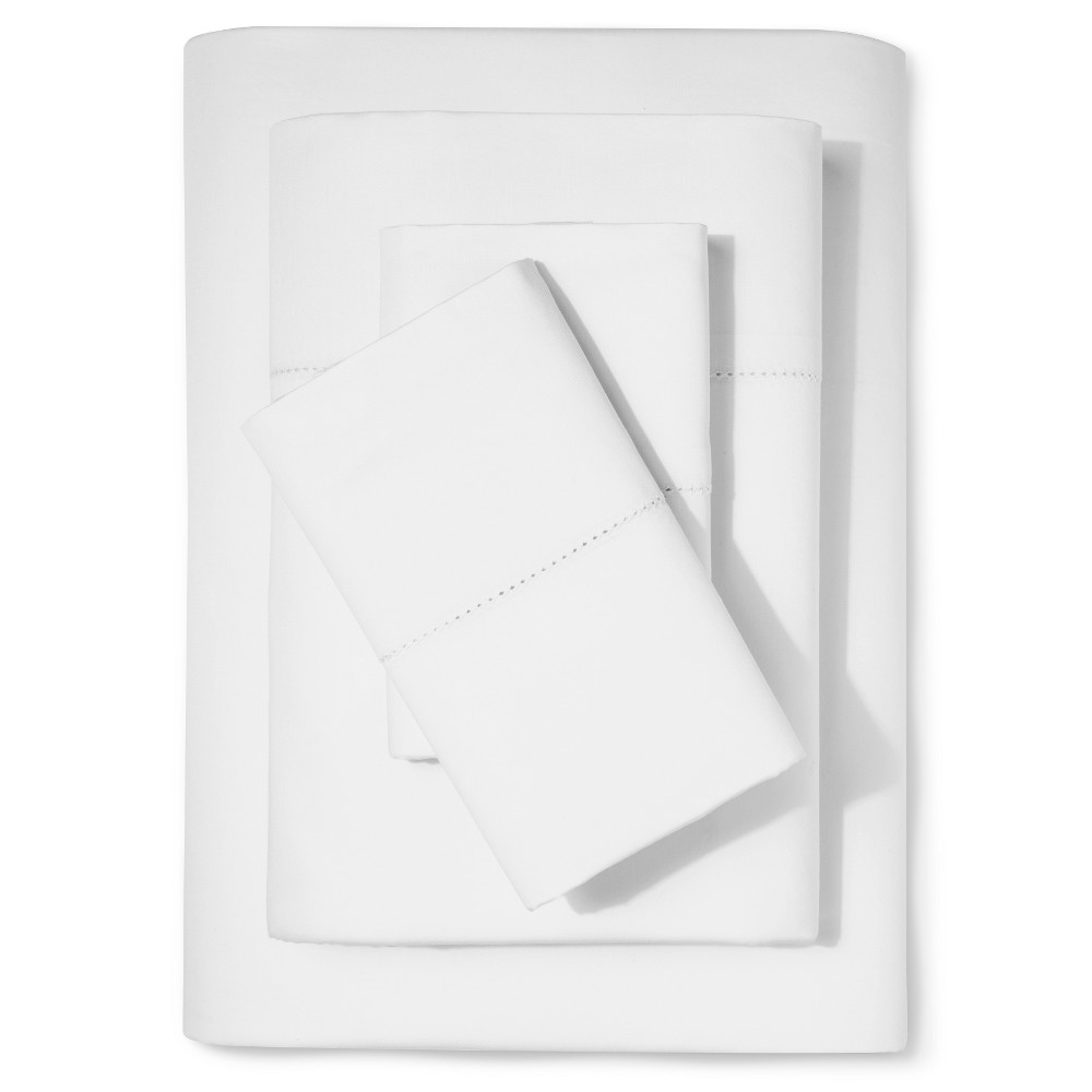 Supima Classic Hemstitch Sheet Set (Full) White 700 Threa...