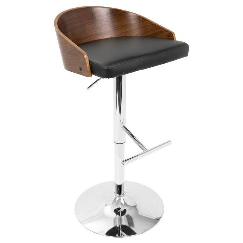 Chianti Mid - Century Modern Adjustable Barstool - Walnut And Black - Lumisource - image 1 of 4