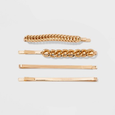 Metal and Chain Bobby Pin Set 4pc - A New Day™ Gold