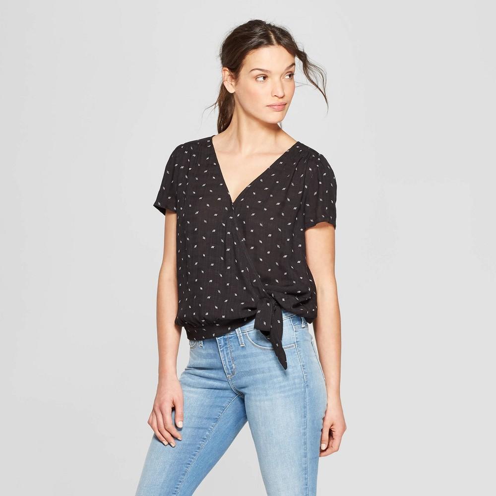 Women's Floral Print Short Sleeve V-Neck Wrap Top - Universal Thread Black XL