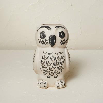 "9"" x 5.5"" Owl Vase Beige Tint - Opalhouse™ designed with Jungalow™"