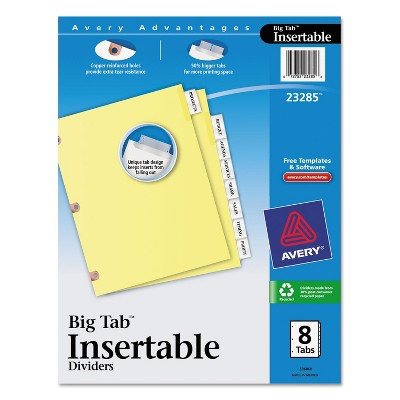 Avery Insertable Big Tab Dividers 8-Tab Letter 23285