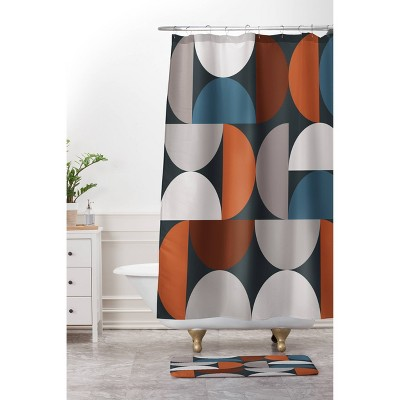 The Old Art Studio Mid Century Modern Geometric Shower Curtain - Deny Designs