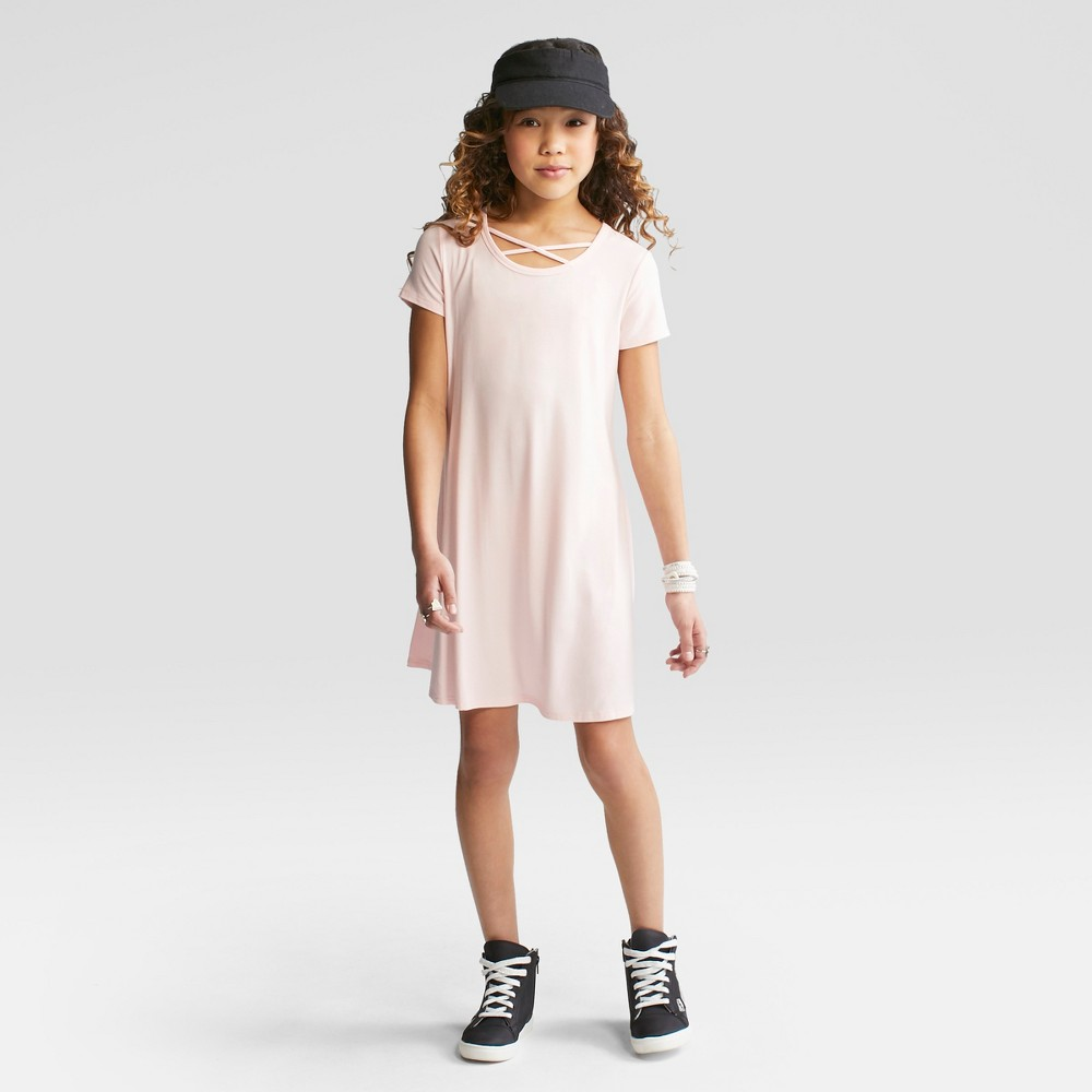 Girls' Short Sleeve Strappy Neck Dress - art class Pink Dogwood S