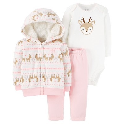 Just One You™ Made by Carter's® Baby Girls' 3pc Fleece Cardigan Set - Pink Hooded Deer 3M