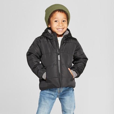 15683d66ad49 Toddler Boys  Puffer Jacket - Cat   Jack™ Black   Target