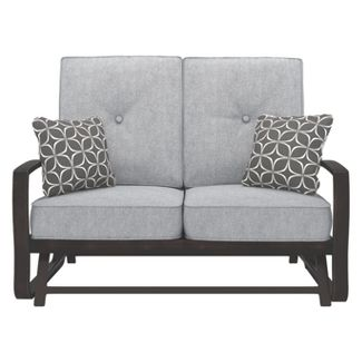 Castle Island Loveseat Glider with Cushion - Dark Brown  - Outdoor by Ashley