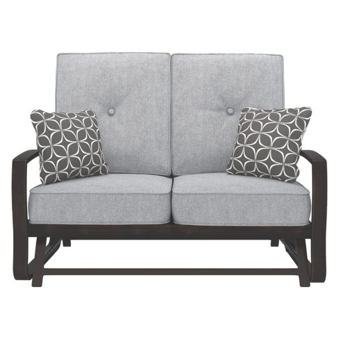 Castle Island Loveseat Glider With Cushion Dark Brown Outdoor By Ashley Target