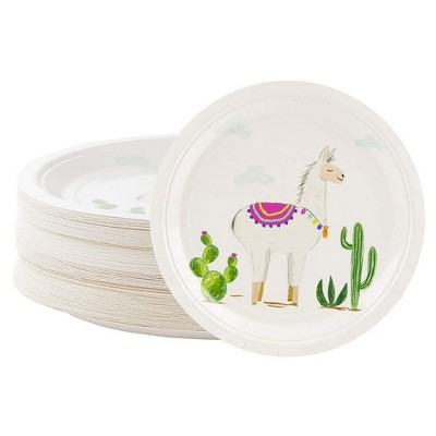 Blue Panda Disposable Plates - 80-Count Paper Plates, Llama Party Supplies, Kids Birthdays, 9 x 9 inches