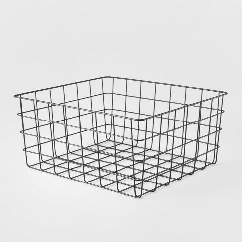 "13"" Rectangular Steel Decorative Baskets White - Room Essentials™ - image 1 of 3"