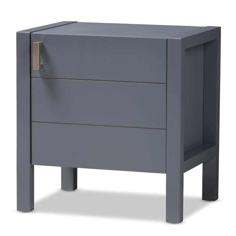 Mandel Modern and Contemporary Wood Nightstand Gray - Baxton Studio