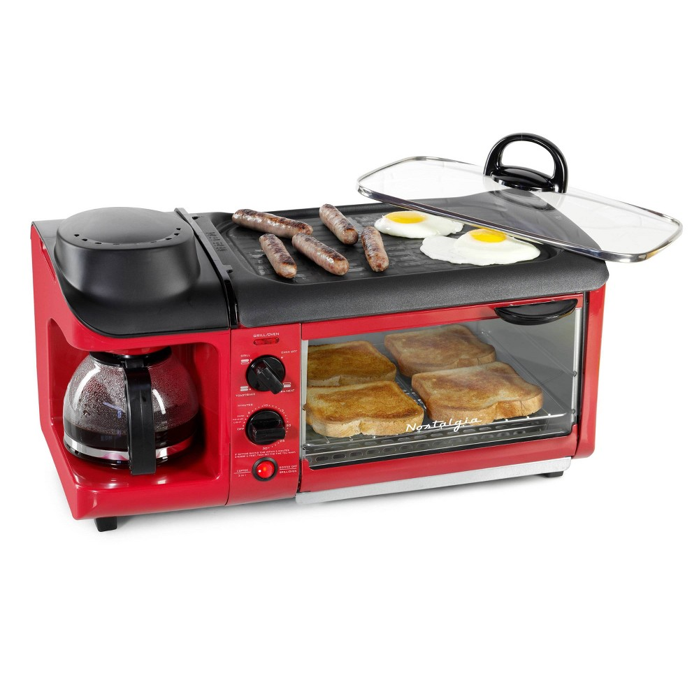 Image of Nostalgia 3-in-1 Toaster Oven - Red