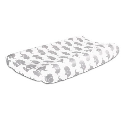 The Peanut Shell Elephant Print Cotton Changing Pad Cover - Gray