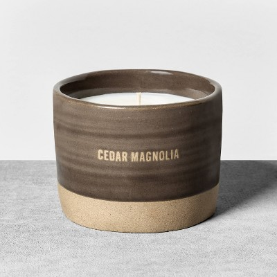 9.3oz Reactive Glaze Ceramic Container Candle Cedar Magnolia - Hearth & Hand™ with Magnolia