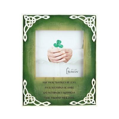 "Roman 7"" Irish Celtic Knot with Insprational Prayer Photo Frame - Green/White"