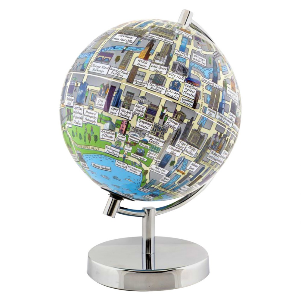 Globee Chicago 4 Illustrated Globe, Multi-Colored The Chicago globe comes mounted on a chrome silver stand. Each globe come with a 16 page booklet packed with interesting facts about the historic city and tourist sites depicted on the globe. The Chicago globe depicts all the major landmarks and tourist sites of the city as well as the major streets and some of the famous characters associated with it. Color: Multi-Colored. Age Group: Adult.