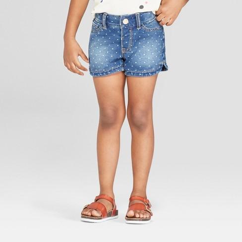 Toddler Girls' Polka Dotted Jean Shorts - Cat & Jack™ Blue - image 1 of 3
