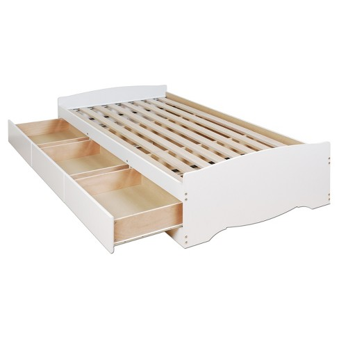 3 Drawer Platform Storage Bed Twin White Prepac