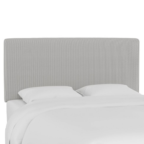 Full Box Seam Headboard Oxford Stripe Charcoal - Skyline Furniture - image 1 of 4