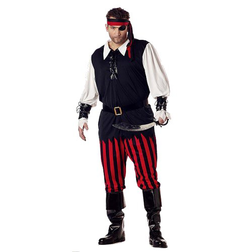 Halloween Pirate Men's Cutthroat Costume Plus Size, Size: Small, Black/Red/White