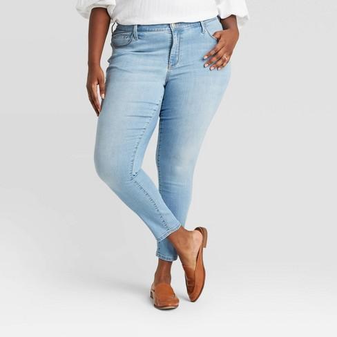Women's Plus Size Mid-Rise Skinny Jeans - Ava & Viv™ Light Wash - image 1 of 3