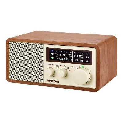 Sangean WR-16 AM FM AUX Input Line Output Wooden Cabinet Table Top Analog Radio Bluetooth Receiver with 5 Volt USB Charging, Walnut