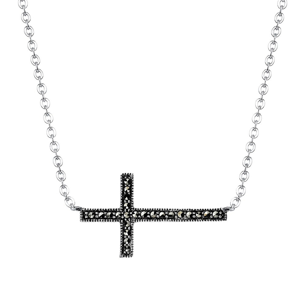 Silver Plated Marcasite Station Necklace - 18.7, Women's, Silver/Metallic